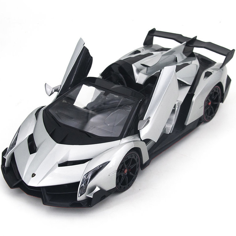 Серая Радиоуправляемая Lamborghini Veneno Кабриолет (открываются двери и капот, 1:14, 34 см)