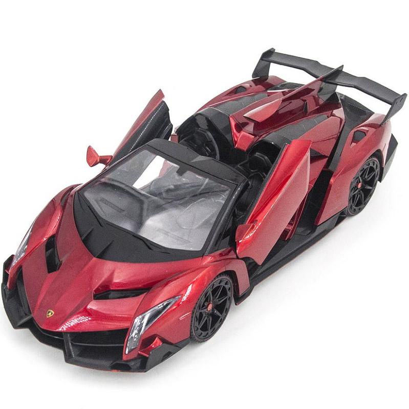 Красная Радиоуправляемая Lamborghini Veneno Кабриолет (открываются двери и капот, 1:14, 34 см)