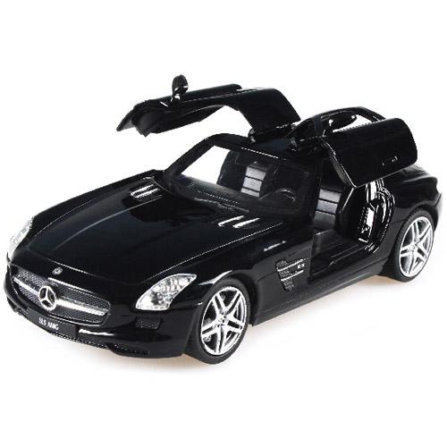Черный Радиоуправляемая Машинка 1:24 Mercedes-Benz SLS (открываются двери, 20 см, металл)