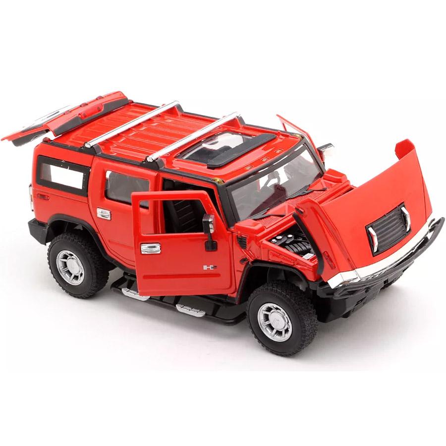 Красный Радиоуправляемый Hummer H2 из металла (открываются двери, 1:24, 20 см)
