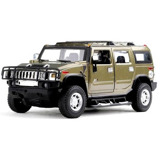 Зеленый Радиоуправляемый Hummer H2 из металла (открываются двери, 1:24, 20 см)