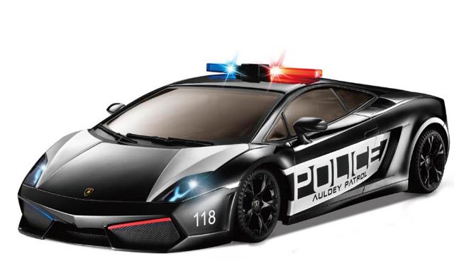 Маленькая радиоуправляемая полицейская машинка Lamborghini Gallardo Police (1:28, 18 см)