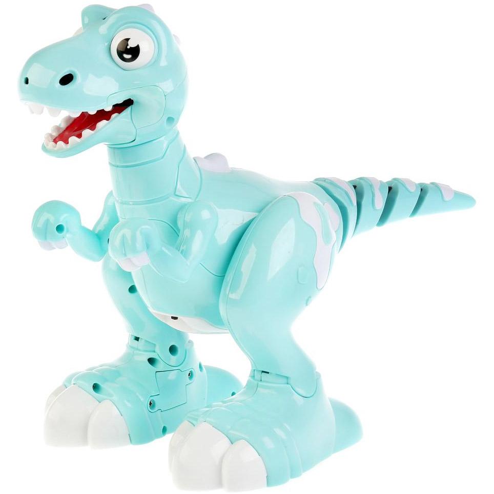 Бирюзовый Интерактивный умный Динозавр на пульте управления (32 см.)