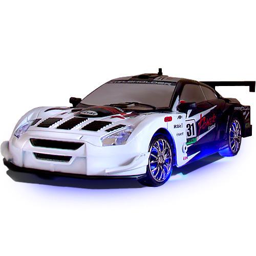 Черно-белая Радиоуправляемая машинка для дрифта Nissan GTR (1:24, 18 см, неоновая подсветка)