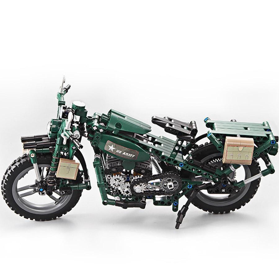 Конструктор Военный Мотоцикл U.S. Army (550 деталей, 34 см.) - Фото