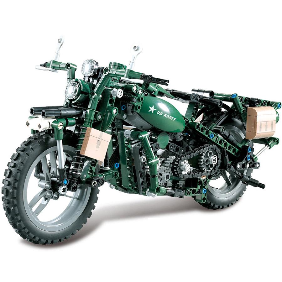 Конструктор Военный Мотоцикл U.S. Army (550 деталей, 34 см.)