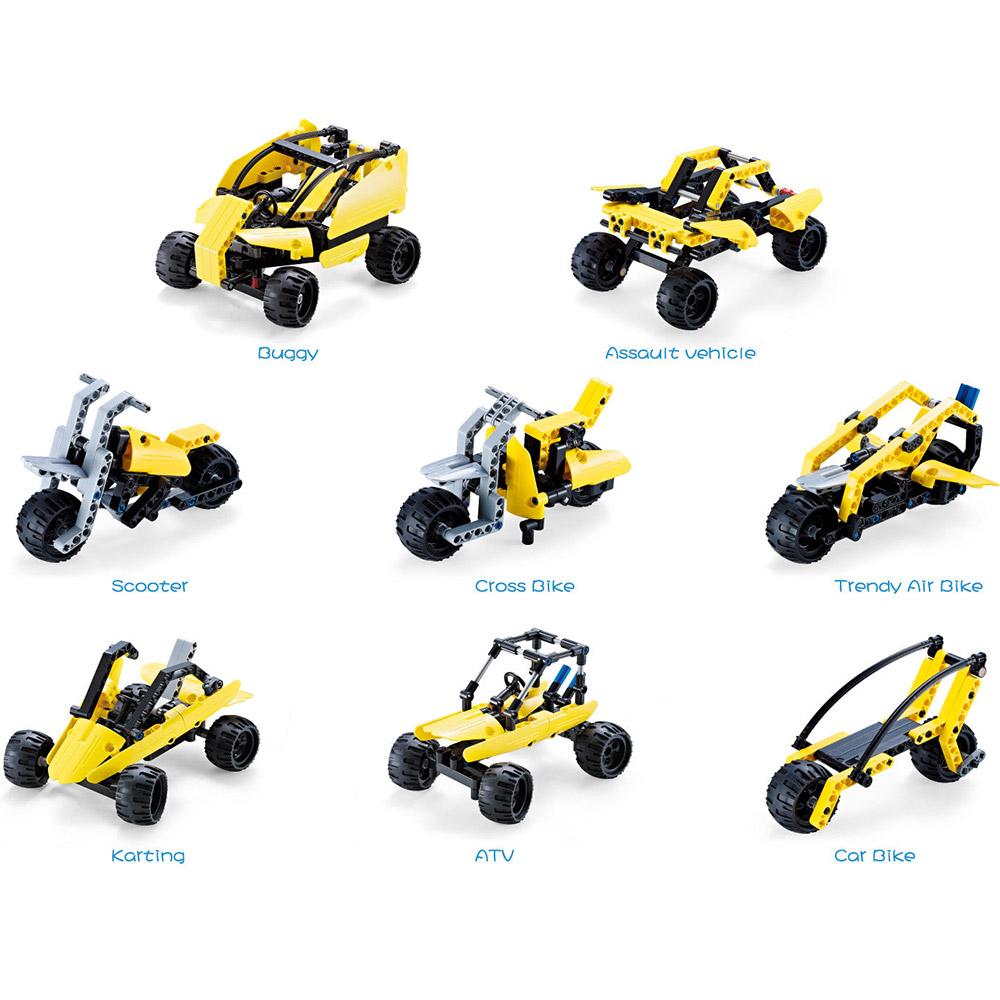 Конструктор 8 в 1 Багги-машина-мотоцикл (338 деталь)