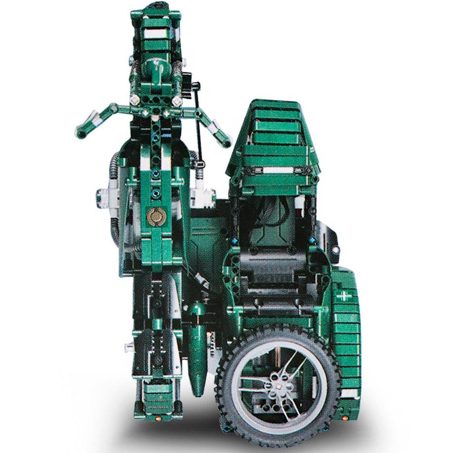 Радиоуправляемы Конструктор Мотоцикл с коляской (629 деталей 36 см.) - Картинка