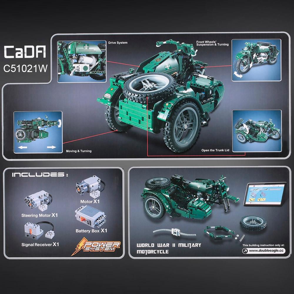 Радиоуправляемы Конструктор Мотоцикл с коляской (629 деталей 36 см.) - Изображение