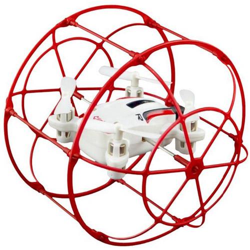 Красный Радиоуправляемый мини Квадрокоптер в сфере из сетке (2.4Ghz, 10 см)