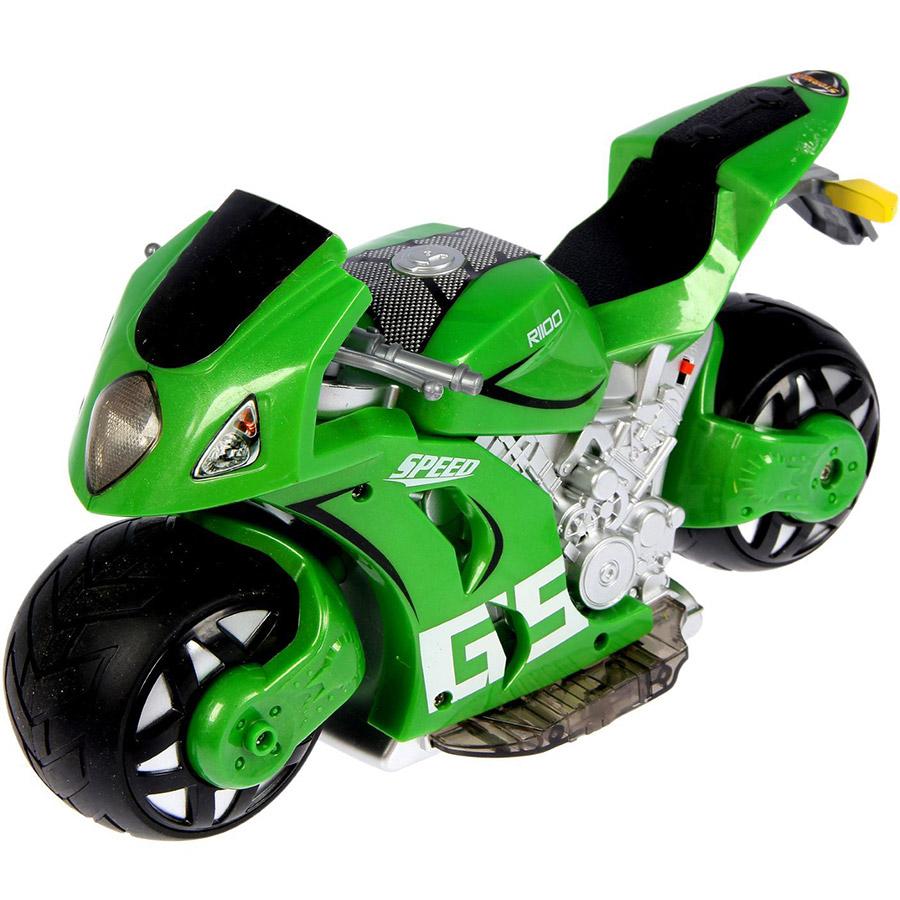 Зеленый Радиоуправляемый Мотоцикл с рулем (1:8, 27 см.)