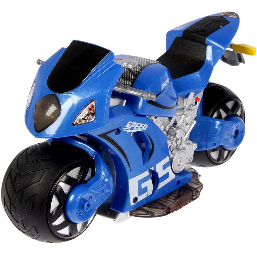 Синий Радиоуправляемый Мотоцикл с рулем (1:8, 27 см.)