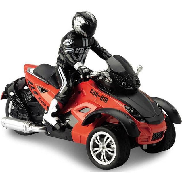 Оранжевый Радиоуправляемый Трехколесный мотоцикл (1:10, 27 см.)