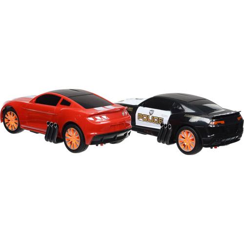 Радиоуправляемая Дорожная битва 1:18 Ford Mustang Police vs. Chevrolet Camaro (23 см.)