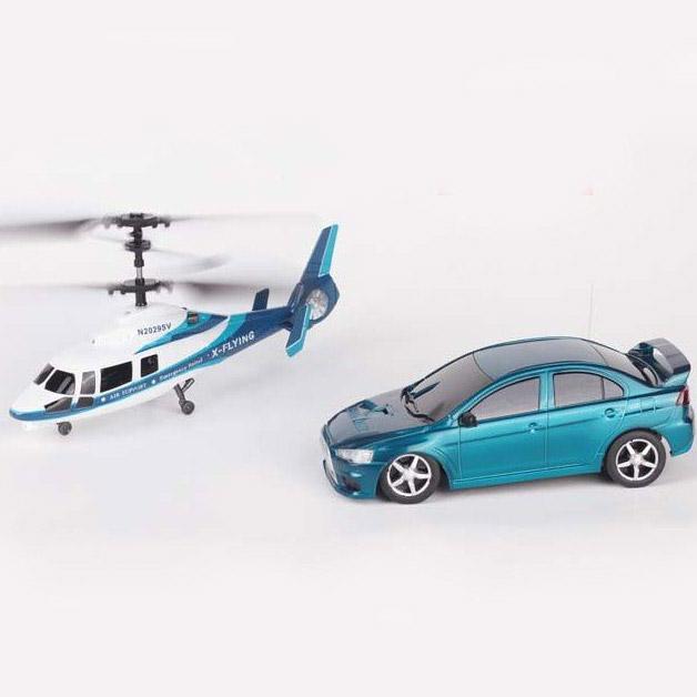 Набор Вертолет и машинка на радиоуправление (34 см.)