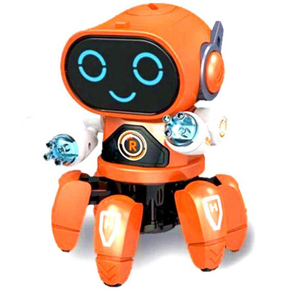 Оранжевый Танцующий робот-осьминожка (18 см)