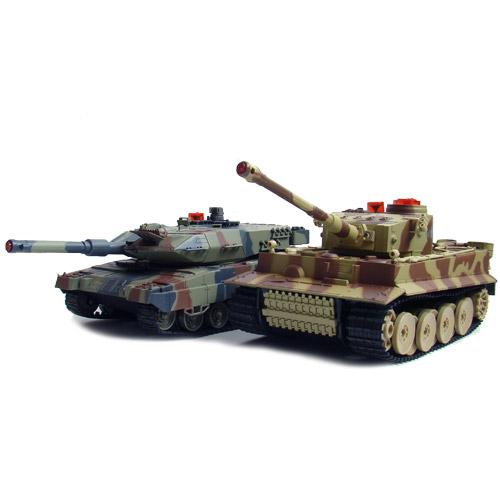 Большой Радиоуправляемый Танковый бой 1:24  Leopard 2A5 vs. Tiger I