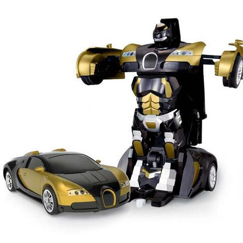 Золотистый Радиоуправляемый трансформер-машинка Bugatti (29 см.)