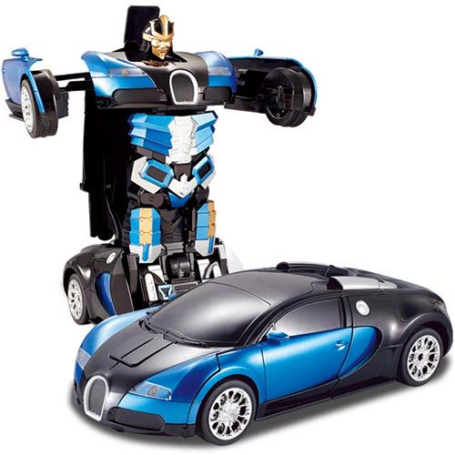Синий Радиоуправляемый трансформер-машинка Bugatti (29 см.)