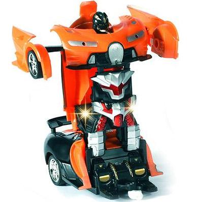 Оранжевый Радиоуправляемая машинка-трансформер 1:18 Bugatti (23 см)