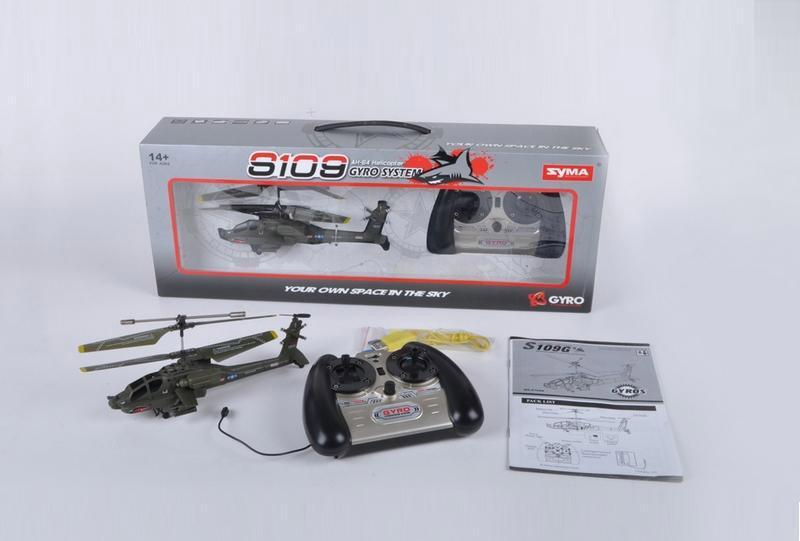Радиоуправляемый Вертолет Syma S109 Apache AH-64 (22 см) - Картинка