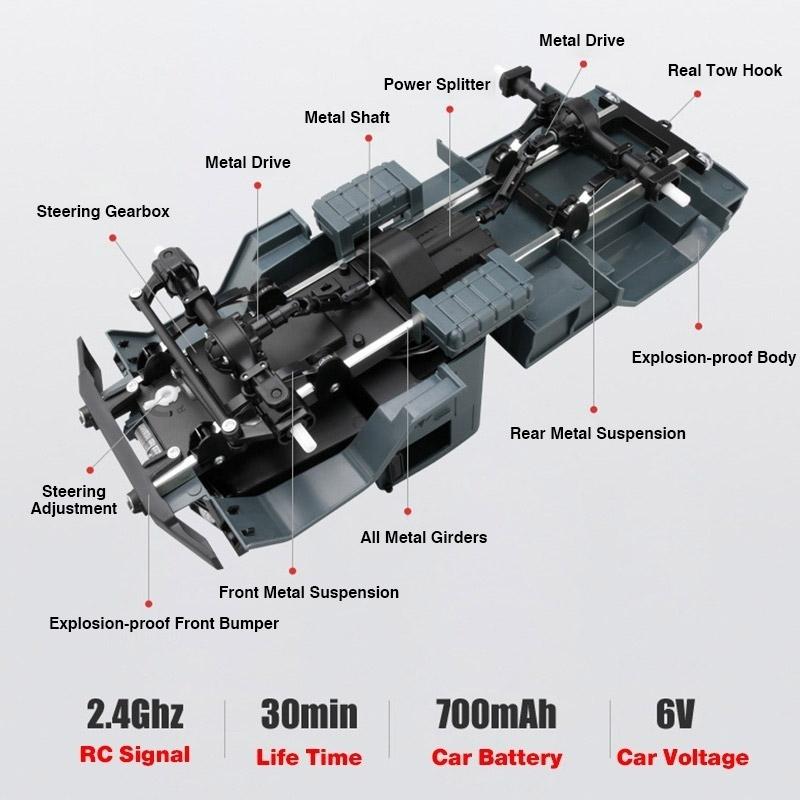 Радиоуправляемый Военный Грузовик на гусеницах (4x4, 1:16, 34 см.) - Изображение